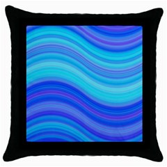 Blue Background Water Design Wave Throw Pillow Case (black)
