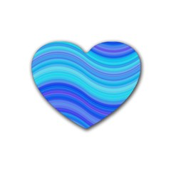 Blue Background Water Design Wave Rubber Coaster (heart)  by BangZart