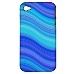 Blue Background Water Design Wave Apple Iphone 4/4s Hardshell Case (pc+silicone)