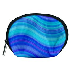Blue Background Water Design Wave Accessory Pouches (medium)  by BangZart
