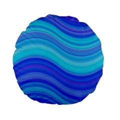Blue Background Water Design Wave Standard 15  Premium Flano Round Cushions