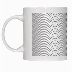Monochrome Curve Line Pattern Wave White Mugs