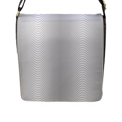 Monochrome Curve Line Pattern Wave Flap Messenger Bag (l)
