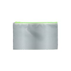 Monochrome Curve Line Pattern Wave Cosmetic Bag (xs) by BangZart