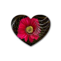 Fantasy Flower Fractal Blossom Rubber Coaster (heart)
