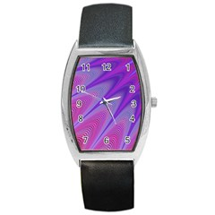 Purple Star Sun Sunshine Fractal Barrel Style Metal Watch