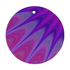 Purple Star Sun Sunshine Fractal Round Ornament (two Sides)