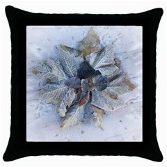 Winter Frost Ice Sheet Leaves Throw Pillow Case (black) by BangZart