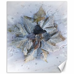 Winter Frost Ice Sheet Leaves Canvas 8  X 10  by BangZart
