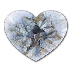Winter Frost Ice Sheet Leaves Heart Mousepads by BangZart