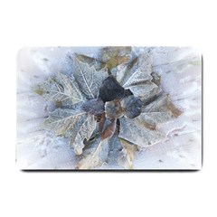 Winter Frost Ice Sheet Leaves Small Doormat  by BangZart