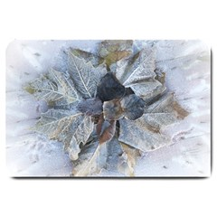 Winter Frost Ice Sheet Leaves Large Doormat  by BangZart