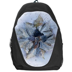 Winter Frost Ice Sheet Leaves Backpack Bag by BangZart
