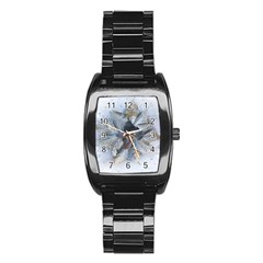 Winter Frost Ice Sheet Leaves Stainless Steel Barrel Watch