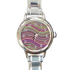 Wave Abstract Happy Background Round Italian Charm Watch