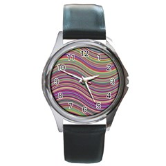 Wave Abstract Happy Background Round Metal Watch