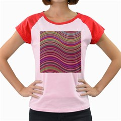 Wave Abstract Happy Background Women s Cap Sleeve T-Shirt