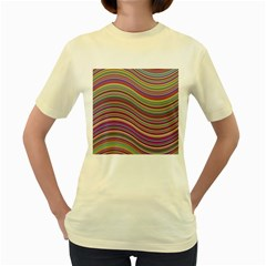 Wave Abstract Happy Background Women s Yellow T-Shirt