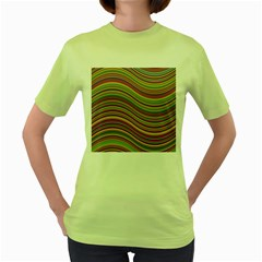 Wave Abstract Happy Background Women s Green T-Shirt