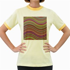 Wave Abstract Happy Background Women s Fitted Ringer T-Shirts