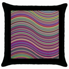 Wave Abstract Happy Background Throw Pillow Case (Black)