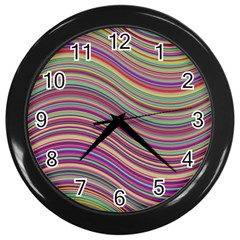 Wave Abstract Happy Background Wall Clocks (Black)