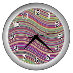 Wave Abstract Happy Background Wall Clocks (Silver)