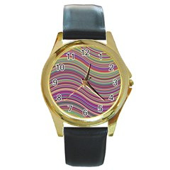 Wave Abstract Happy Background Round Gold Metal Watch