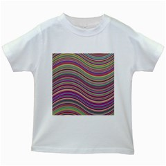 Wave Abstract Happy Background Kids White T-Shirts