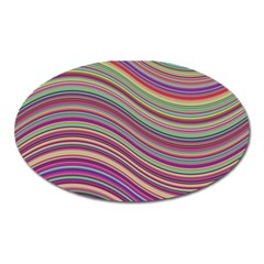 Wave Abstract Happy Background Oval Magnet