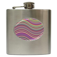 Wave Abstract Happy Background Hip Flask (6 oz)