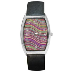 Wave Abstract Happy Background Barrel Style Metal Watch