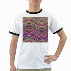 Wave Abstract Happy Background Ringer T-Shirts