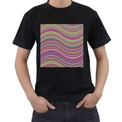 Wave Abstract Happy Background Men s T-Shirt (Black) (Two Sided)