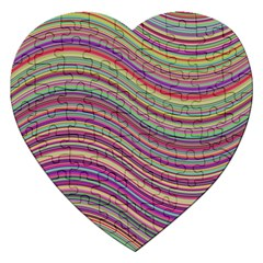 Wave Abstract Happy Background Jigsaw Puzzle (Heart)