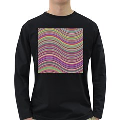 Wave Abstract Happy Background Long Sleeve Dark T-Shirts
