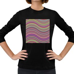 Wave Abstract Happy Background Women s Long Sleeve Dark T-Shirts