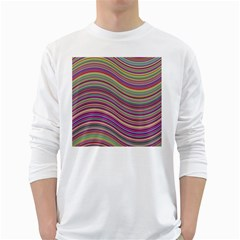 Wave Abstract Happy Background White Long Sleeve T-Shirts
