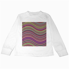 Wave Abstract Happy Background Kids Long Sleeve T-Shirts