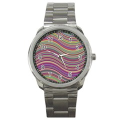 Wave Abstract Happy Background Sport Metal Watch