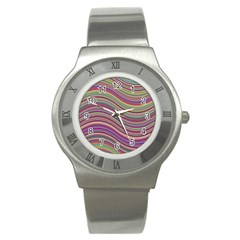 Wave Abstract Happy Background Stainless Steel Watch