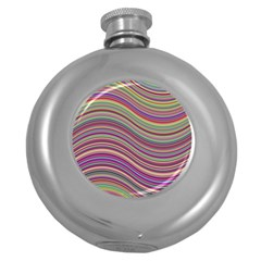 Wave Abstract Happy Background Round Hip Flask (5 oz)