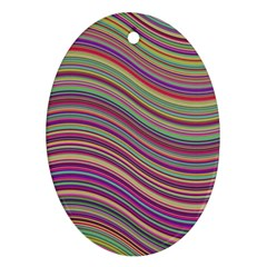 Wave Abstract Happy Background Oval Ornament (Two Sides)