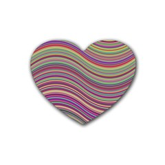 Wave Abstract Happy Background Rubber Coaster (Heart)