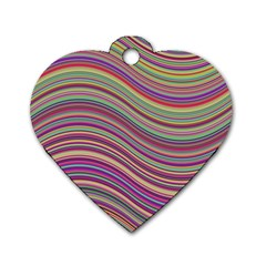 Wave Abstract Happy Background Dog Tag Heart (Two Sides)