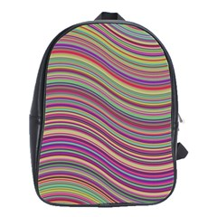 Wave Abstract Happy Background School Bag (Large)