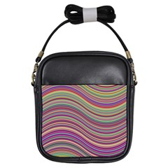 Wave Abstract Happy Background Girls Sling Bags