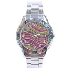 Wave Abstract Happy Background Stainless Steel Analogue Watch