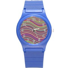 Wave Abstract Happy Background Round Plastic Sport Watch (S)