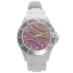 Wave Abstract Happy Background Round Plastic Sport Watch (L)